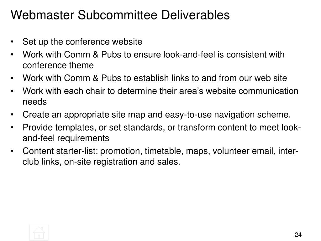Webmaster Subcommittee Deliverables
