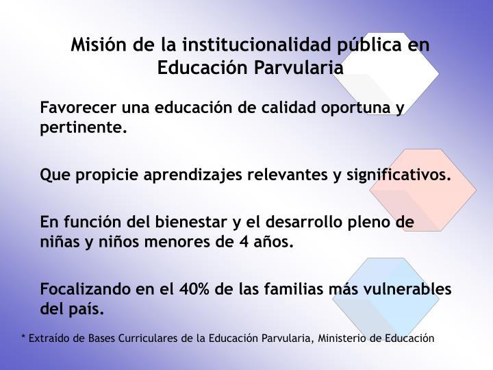 Misión de la institucionalidad pública en Educación Parvularia
