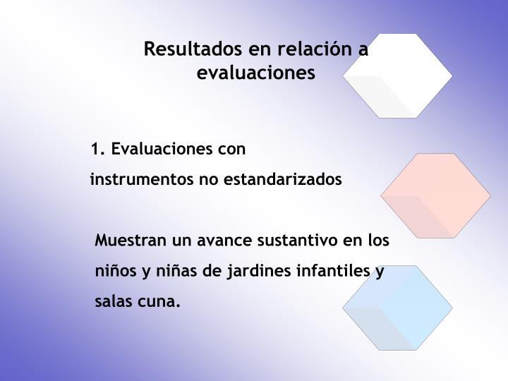 Resultados en relación a evaluaciones
