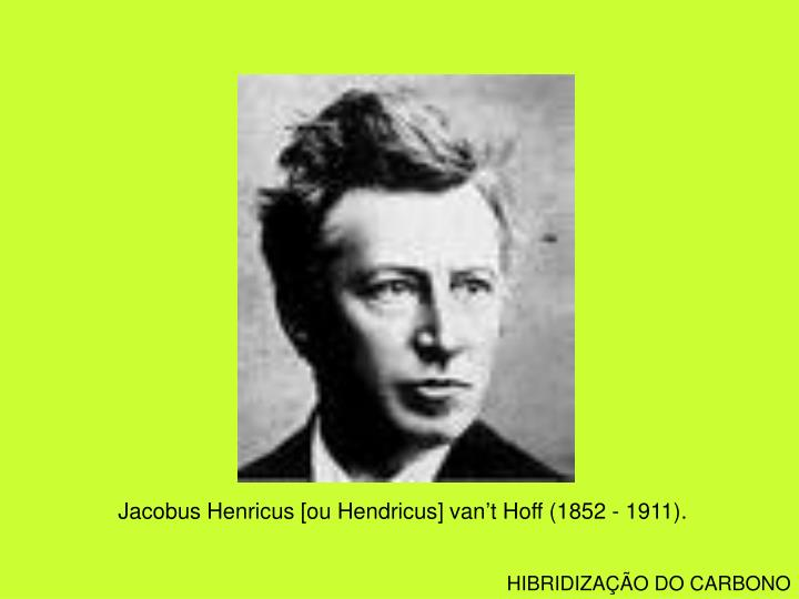 Jacobus Henricus [ou Hendricus] van't Hoff (1852 - 1911).