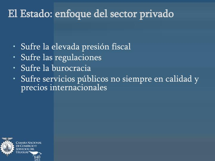 El Estado: enfoque del sector privado