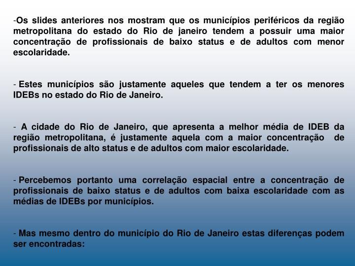 Os slides anteriores nos mostram que os municípios periféricos da região metropolitana do estado do Rio de janeiro tendem a possuir uma maior concentração de profissionais de baixo status e de adultos com menor escolaridade.