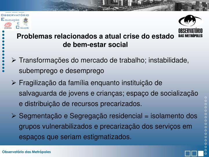 Problemas relacionados a atual crise do estado de bem-estar social