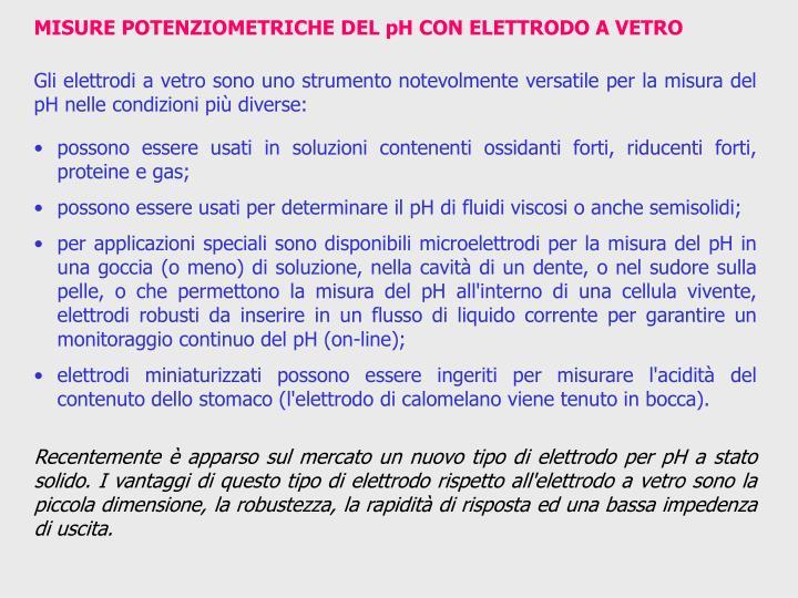 MISURE POTENZIOMETRICHE DEL pH CON ELETTRODO A VETRO