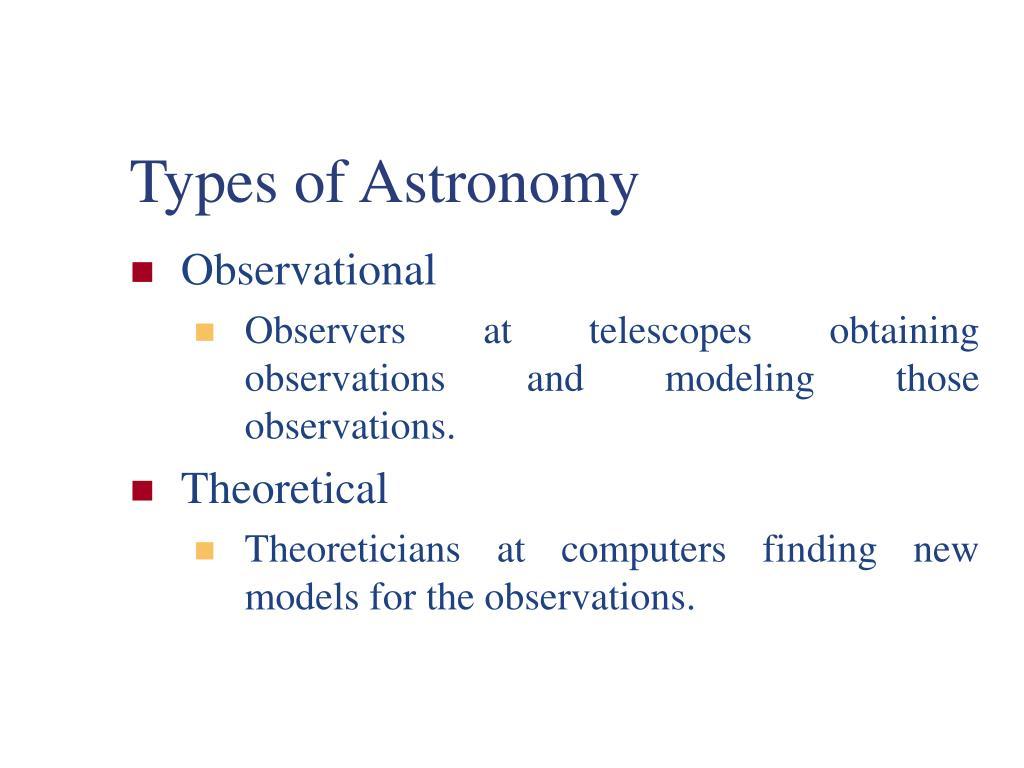 Types of Astronomy