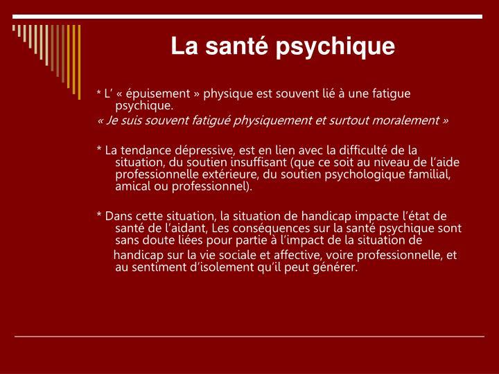 La santé psychique