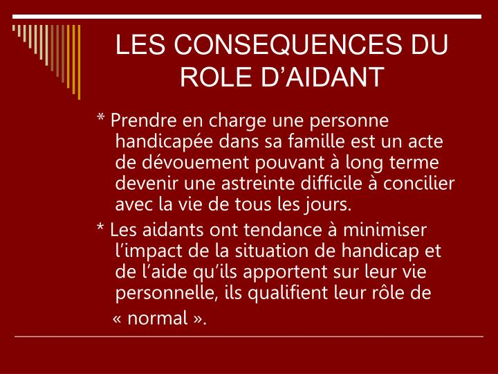 LES CONSEQUENCES DU ROLE D'AIDANT