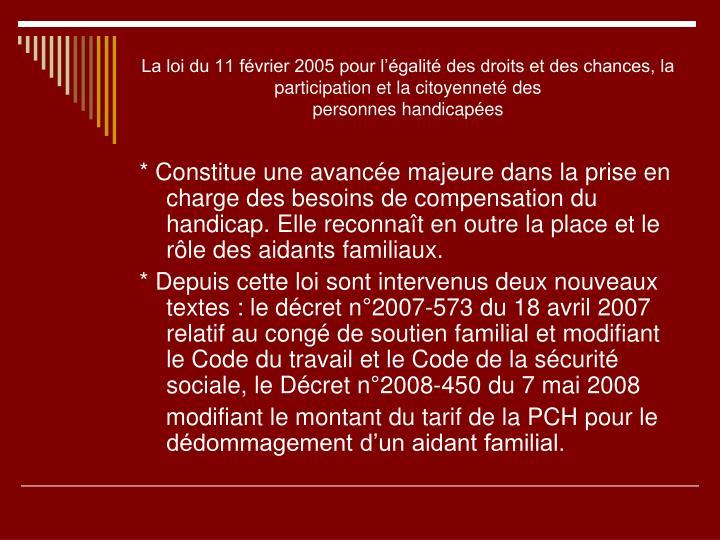 La loi du 11 février 2005 pour l'égalité des droits et des chances, la participation et la citoyenneté des