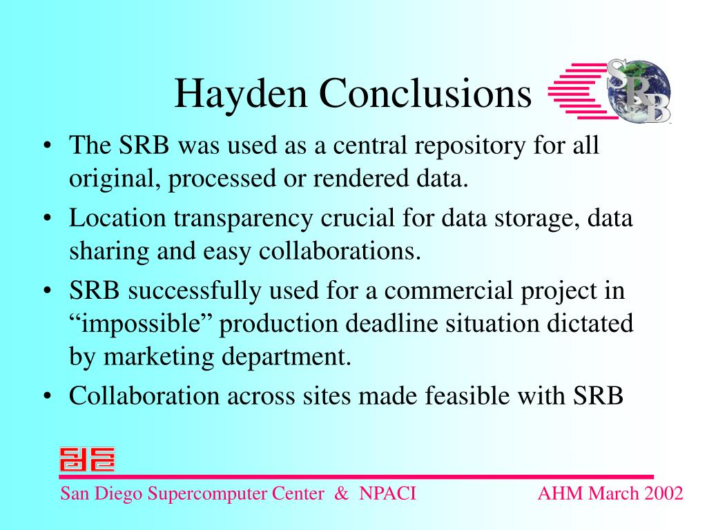 The SRB was used as a central repository for all original, processed or rendered data.