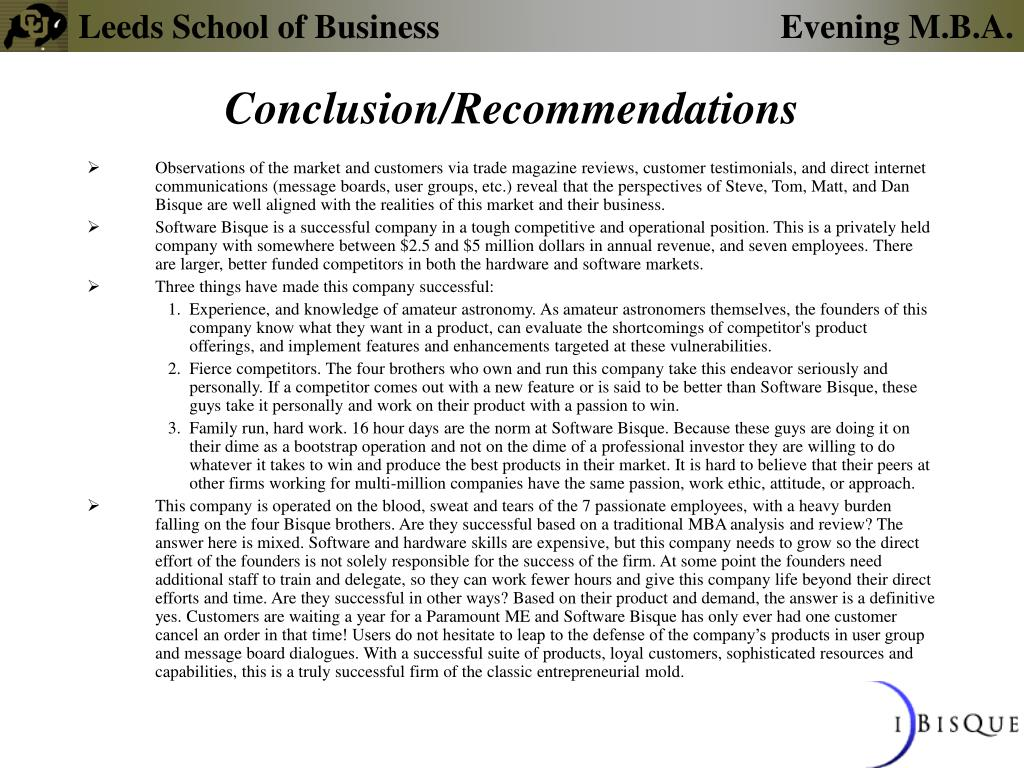 Conclusion/Recommendations