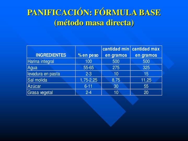 PANIFICACIÓN: FÓRMULA BASE (método masa directa)