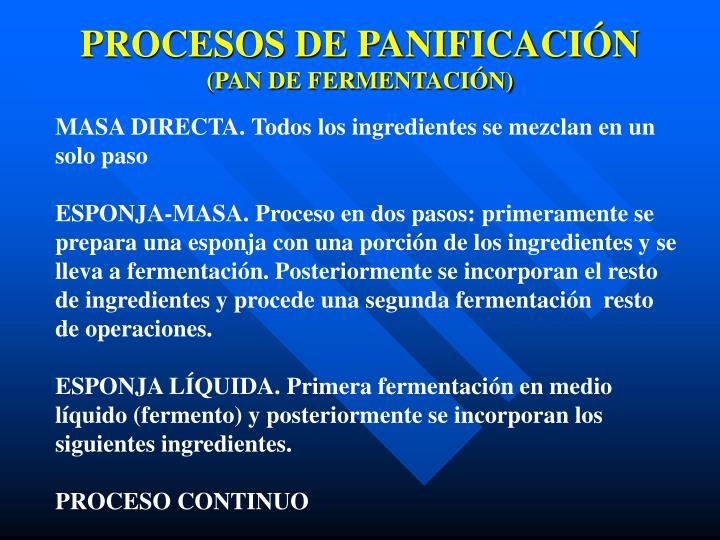 PROCESOS DE PANIFICACIÓN