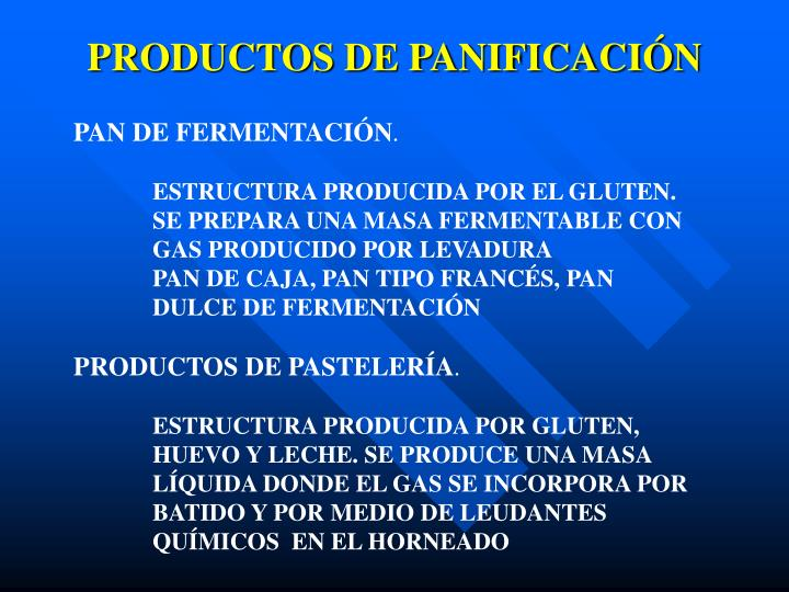PRODUCTOS DE PANIFICACIÓN