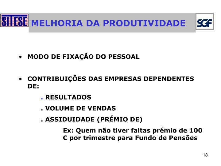 MELHORIA DA PRODUTIVIDADE