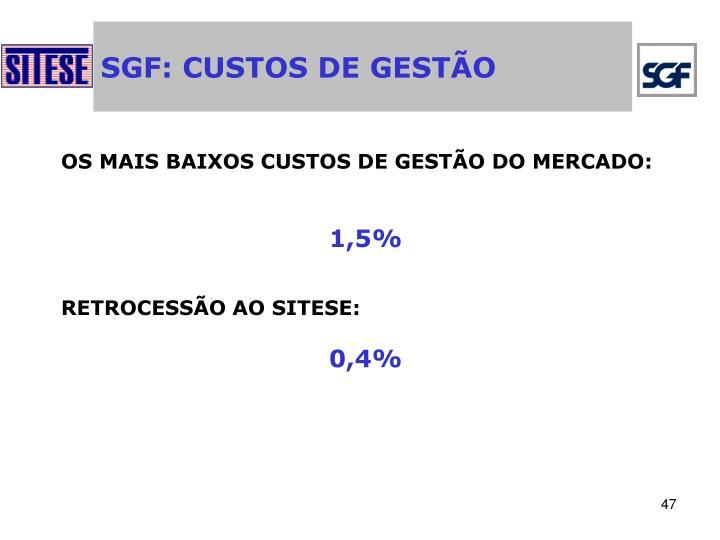 SGF: CUSTOS DE GESTÃO