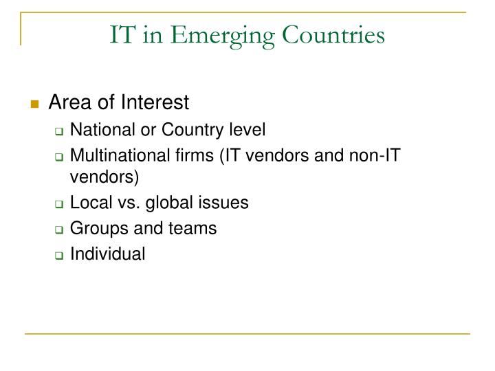 IT in Emerging Countries