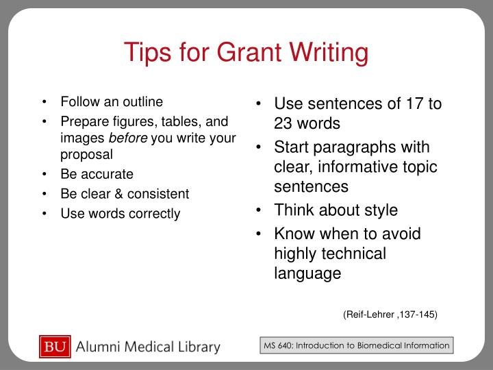 tips on grant writing Tips for grant writing success when you are ready to start applying for funding is competitive with limited funds available and.