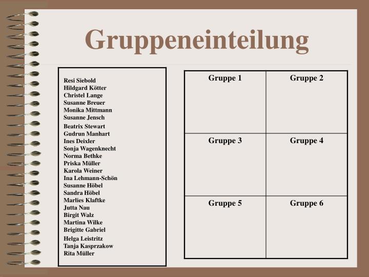 Gruppeneinteilung