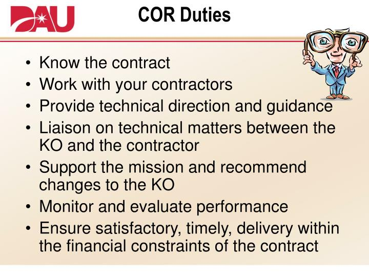 COR Duties
