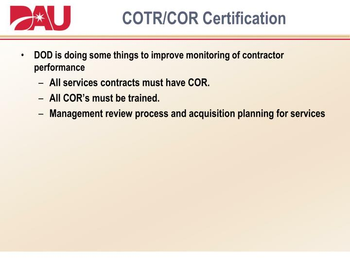 COTR/COR Certification