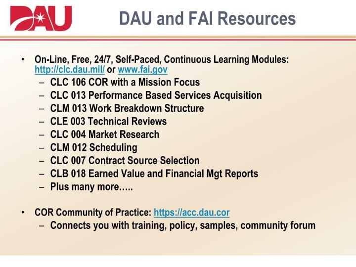 DAU and FAI Resources