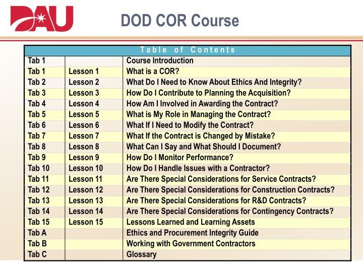 DOD COR Course