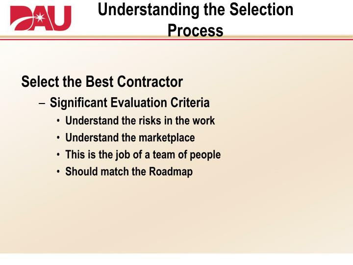 Understanding the Selection Process