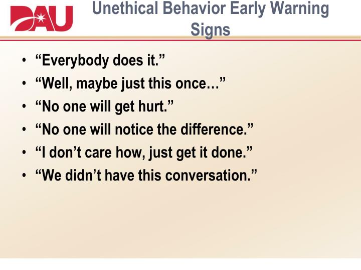Unethical Behavior Early Warning Signs
