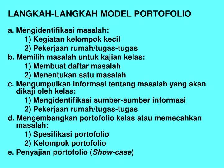 LANGKAH-LANGKAH MODEL PORTOFOLIO
