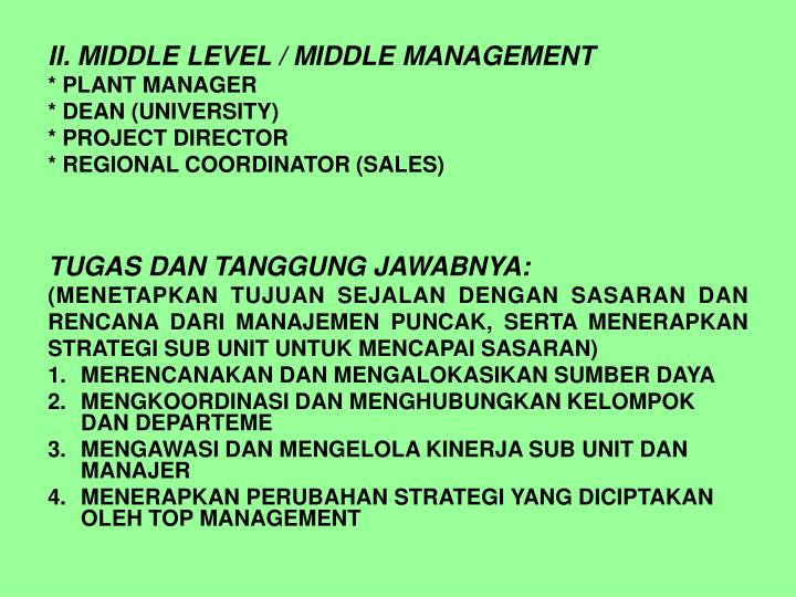 II. MIDDLE LEVEL / MIDDLE MANAGEMENT