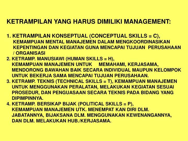 KETRAMPILAN YANG HARUS DIMILIKI MANAGEMENT: