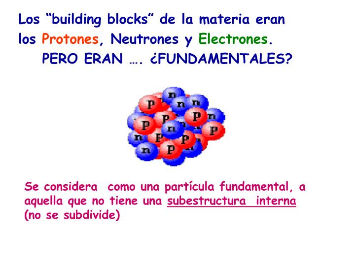 "Los ""building blocks"" de la materia eran"