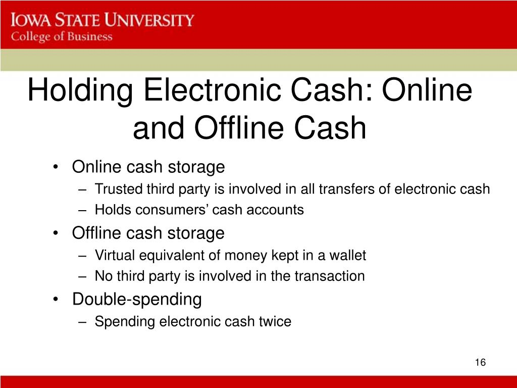 Holding Electronic Cash: Online and Offline Cash