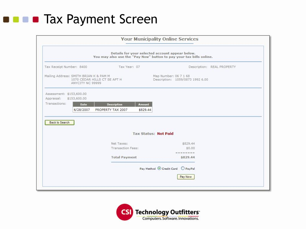 Tax Payment Screen