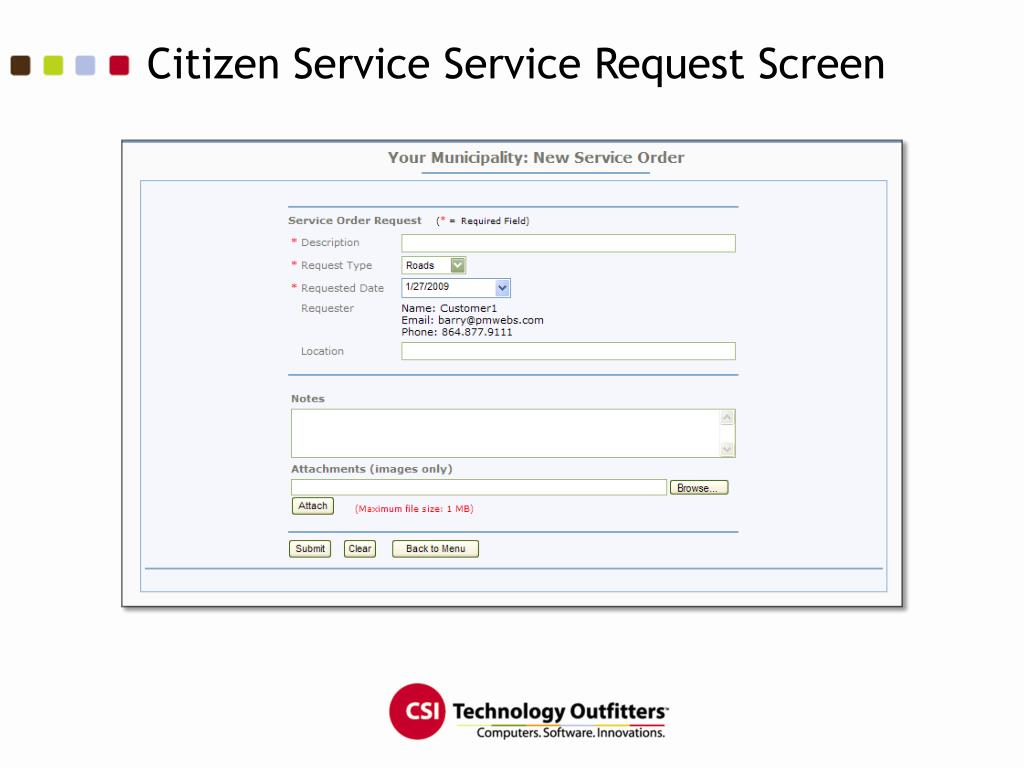 Citizen Service Service Request Screen