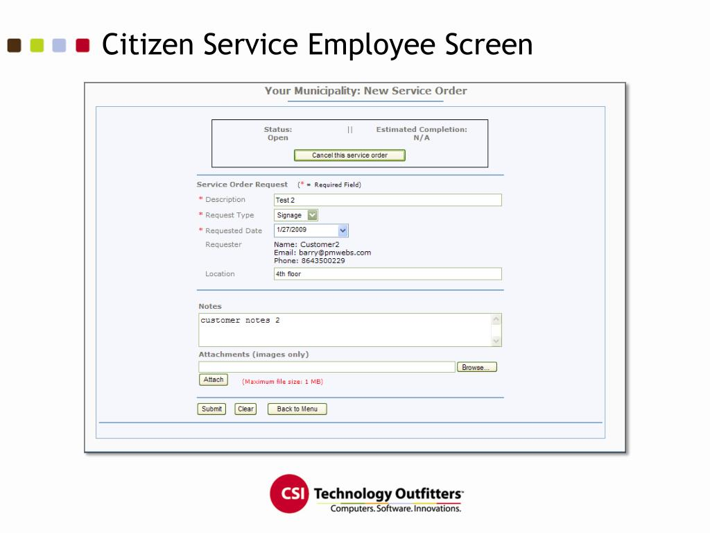 Citizen Service Employee Screen