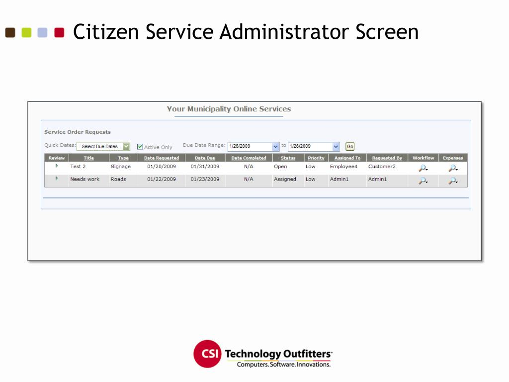 Citizen Service Administrator Screen