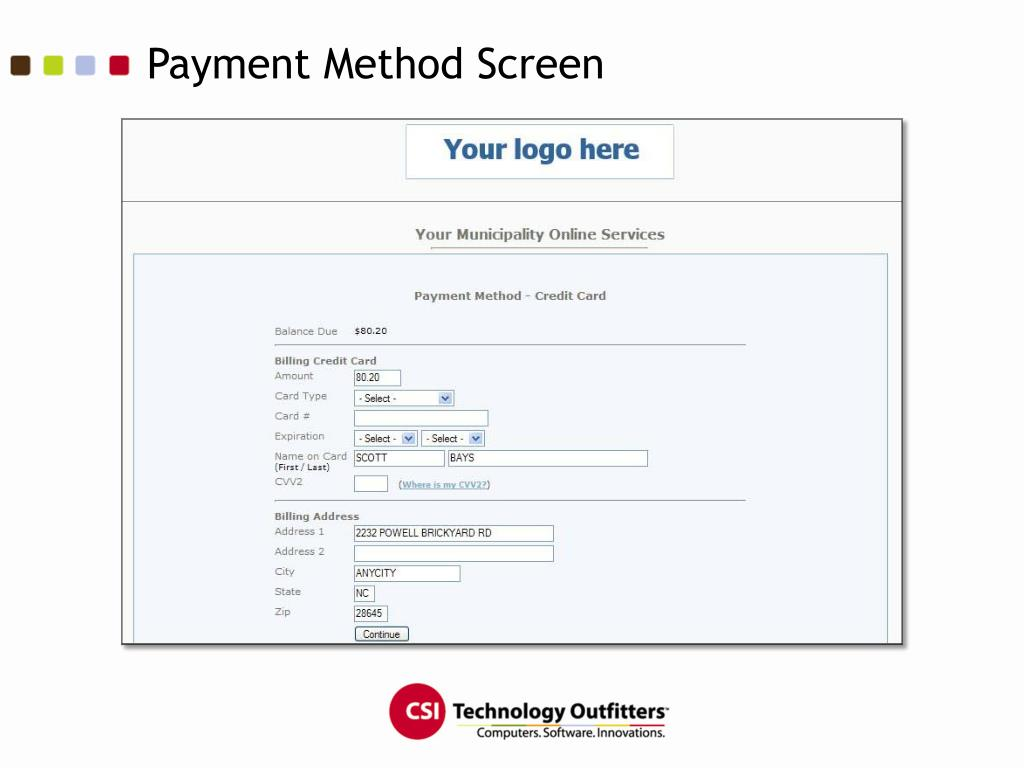 Payment Method Screen