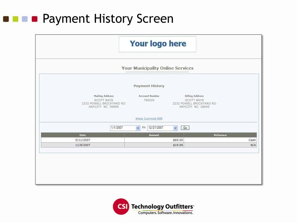 Payment History Screen