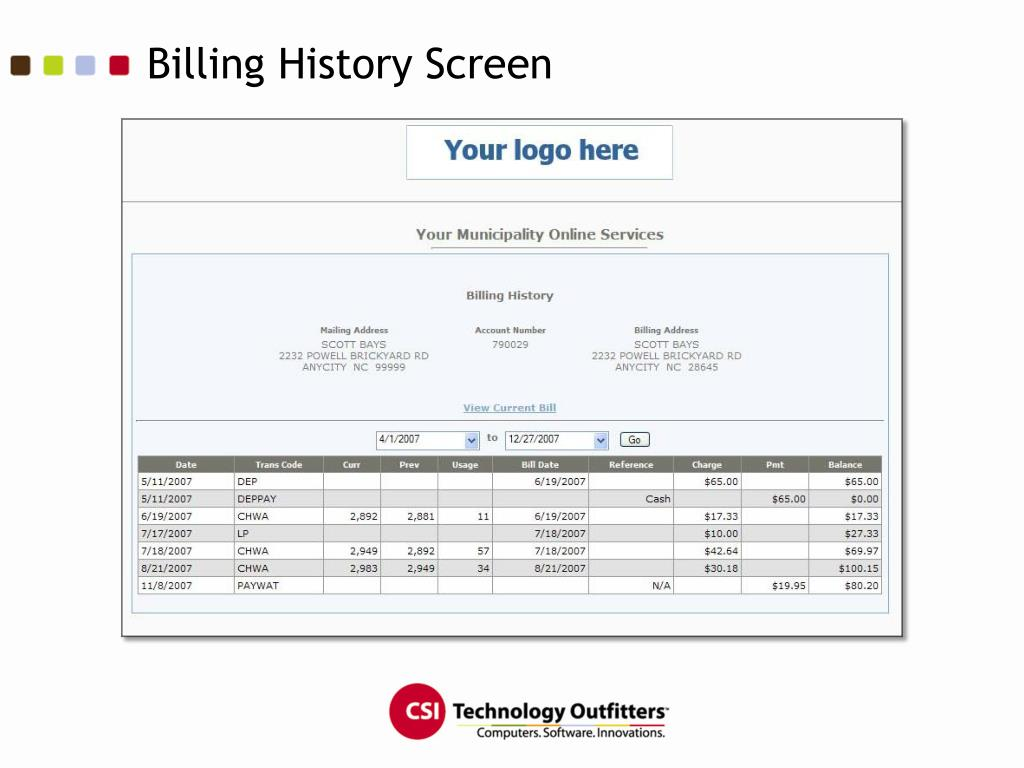 Billing History Screen
