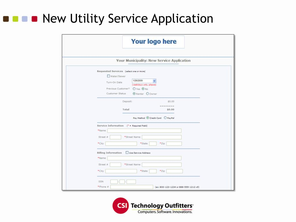 New Utility Service Application