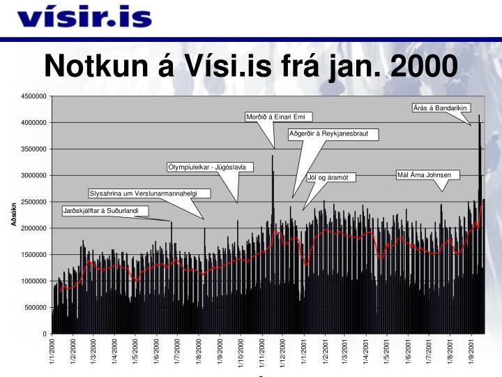 Notkun á Vísi.is frá jan. 2000