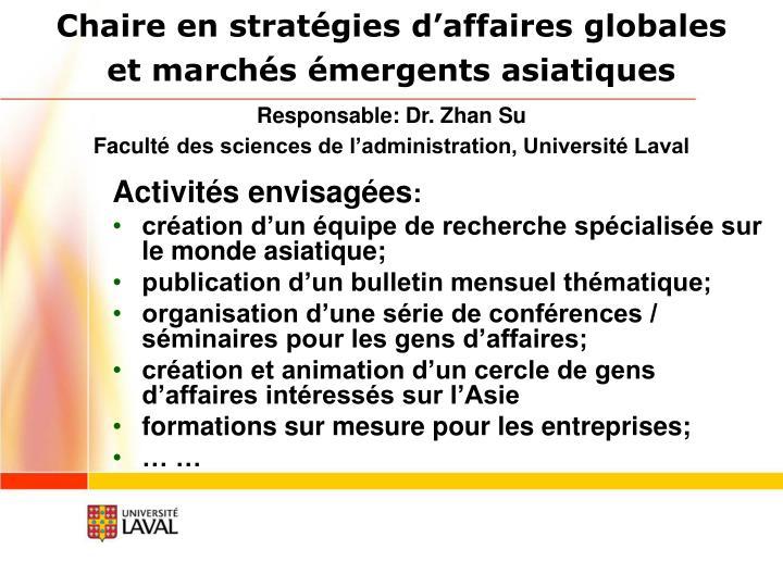 Chaire en stratégies d'affaires globales