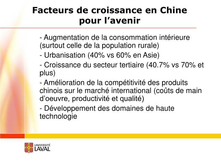 Facteurs de croissance en Chine