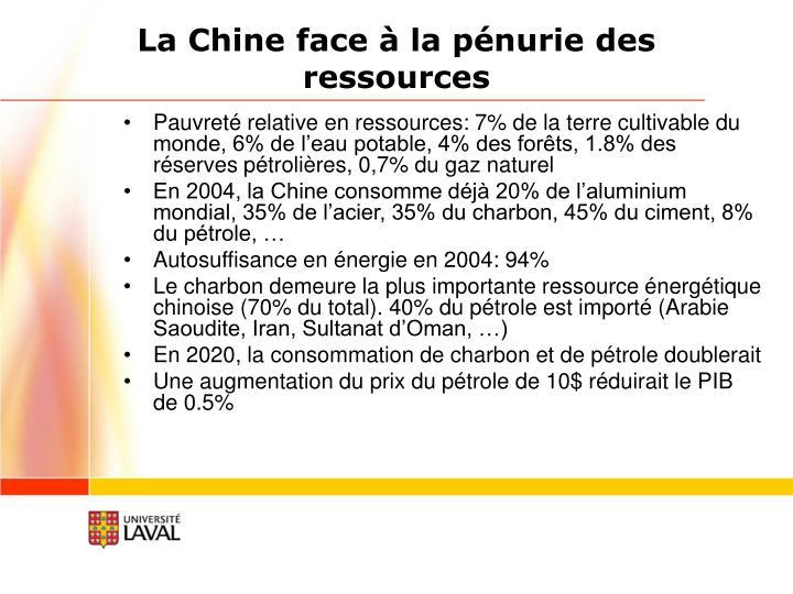 La Chine face à la pénurie des ressources