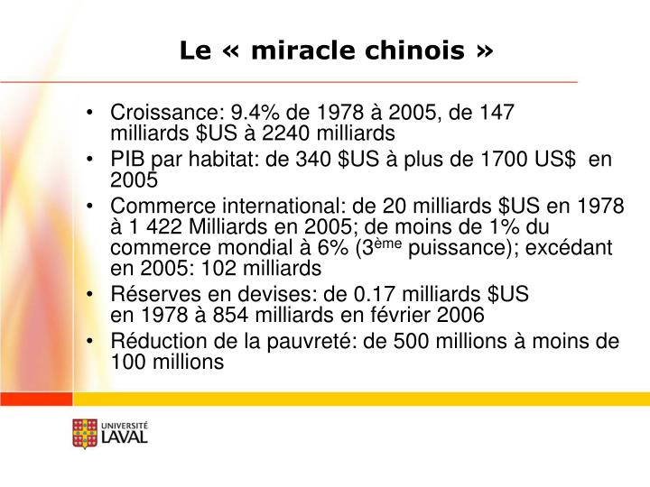 Le «miracle chinois»