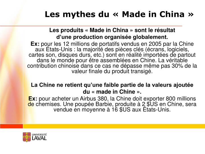 Les mythes du «Made in China»