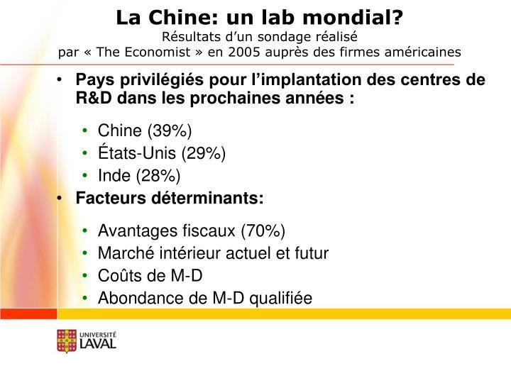 La Chine: un lab mondial?