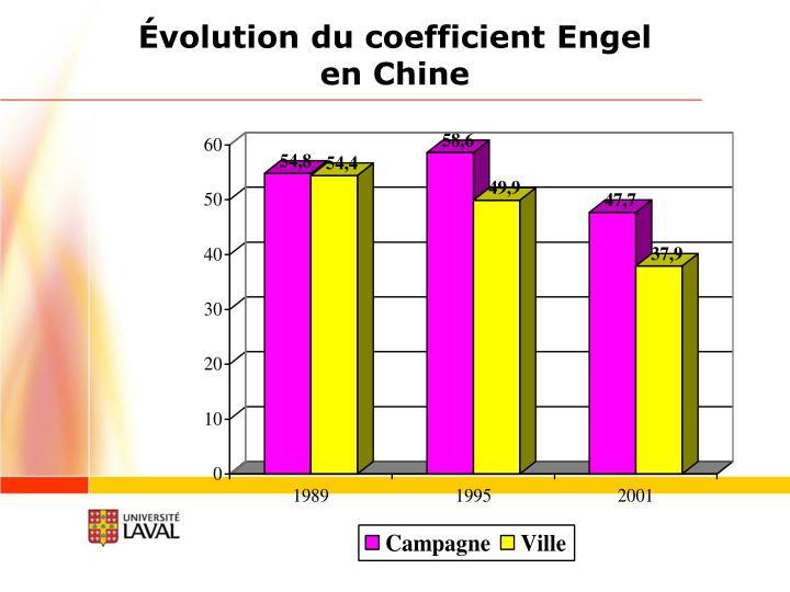 Évolution du coefficient Engel