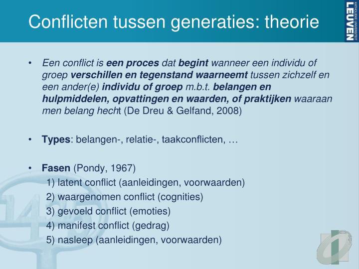 Conflicten tussen generaties: theorie